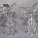 9 Vintage Angel Sparkly Clear Beaded Christmas Decorations 1 Penny Shipping