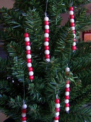 10 Wood Country Bead Icicle Christmas Ornaments Lot Baubles Wooden Beaded