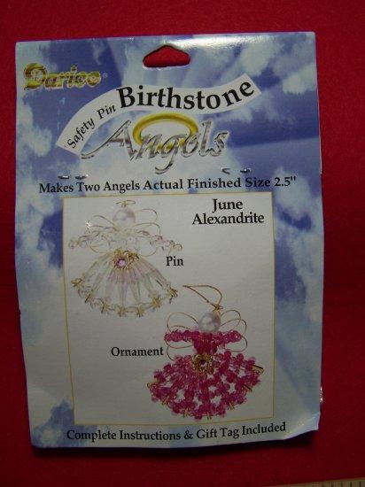 Darice Safety Pin Birthstone Angel Craft Kit June Birthday Christmas Beaded Ornaments