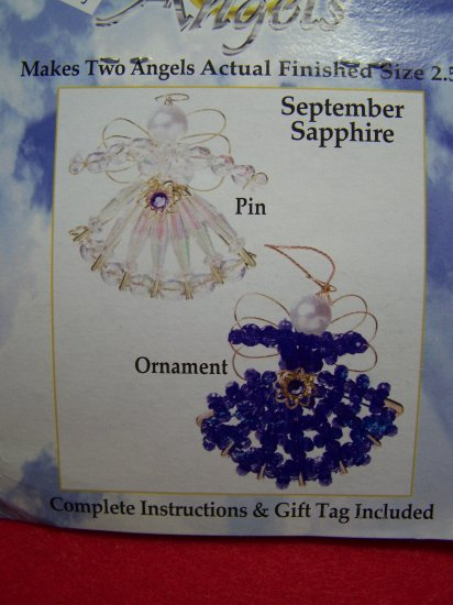 Darice Safety Pin Angel Craft Kit Birthstone September Sapphire Christmas Angels Ornaments