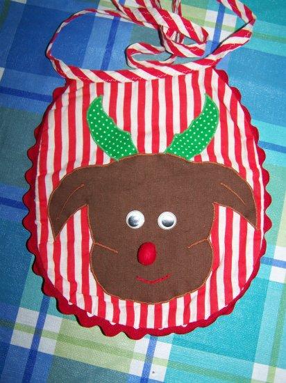 Vintage Rudolph Red Nosed Reindeer Handmade Appliqued Christmas Bib