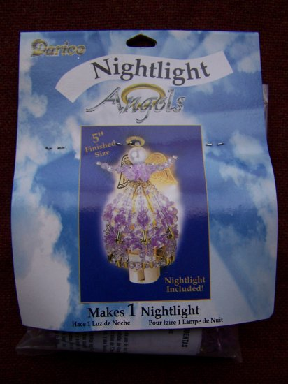 New Darice Nightlight Angel Beaded Kit Purple Beads 1 Penny USA Shipping