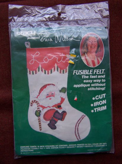 Vintage Beaded Sequin Felt Santa Christmas Stocking Kit Beads Sequins