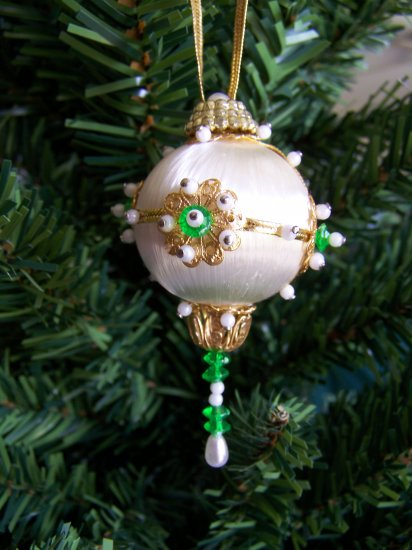 Vintage Mini Christmas Ornament White Satin Ball Beaded Gold Trim #1