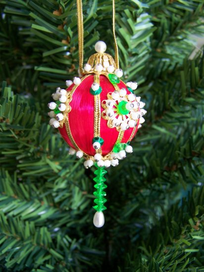 Vintage Christmas Ornament Red Satin Ball Beads Sequins Beaded Sequined #2