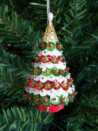 Vintage Christmas Tree Ornament Beaded Sequined Handmade Estate Decoration #3