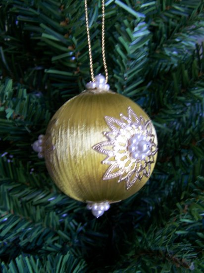 Vintage Christmas Ornament Gold Satin Ball Decorations White Pearl Beads #4