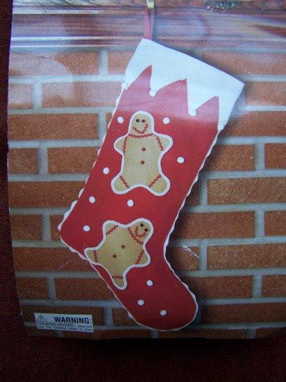 Easy Red Felt Christmas Stocking Craft Kit Gingerbread Man New Vintage Christmas Treasures