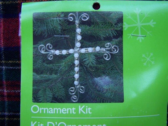 9 Christmas Tree Ornaments Wire Cross Pearl Gold Beads Kit USA 1 Cent S&H