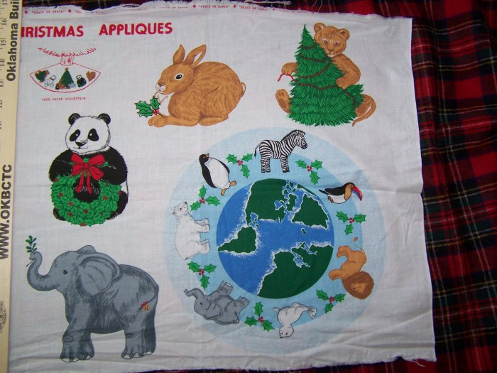 $1 USA S&H Christmas Fabric Panel Peace on Earth Day Appliques Recycle Go Green