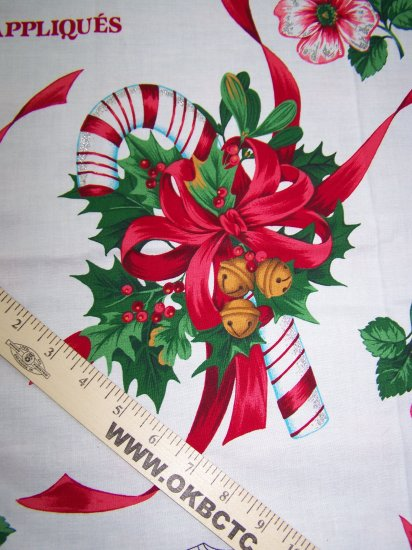 Vintage Christmas Star Dust Applique Cotton Panel Tree Hibiscus US $1 S&H