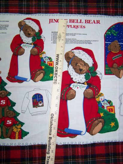 USA $1 Shipping Merry Christmas Appliques Cotton Fabric Jingle Bell Bear