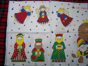 Vintage Christmas Cotton Fabric Panel Apparel Art Appliques Pillows $1 USA S&H