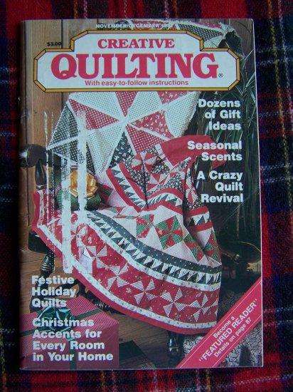 1 Cent USA S&H Vintage Nov Dec 1987 Creative Quilting Pattern Book