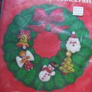New Vintage Bucilla Jeweled Christmas Needlepoint Felt Wreath Kit 3396 Sequined Beaded