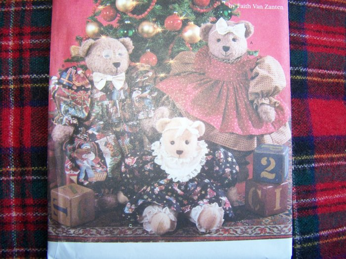 """Simplicity Holiday Sewing Pattern 7452 Stuffed Bear Doll Clothing 18 and 22"""""""