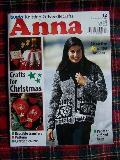 Burda Dec 1996 Anna Christmas Winter Knitting Needlecrafts Pattern Magazine