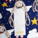 Country Primitive Christmas Angel & Stars Cotton Fabric Out of Print Material
