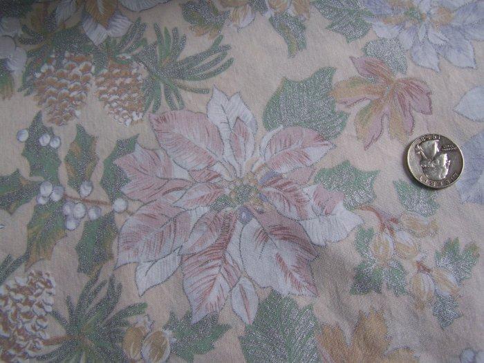 Christmas Cotton Poinsettia Fabric Gold Silver Outline Pinecones Victorian