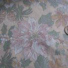 Christmas Cotton Poinsettia Fabric Gold Silver Outline Pinecones Victorian