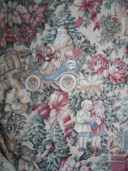 Victorian Old World Christmas Cotton Fabric Pink Roses Poinsettias Toys Santa