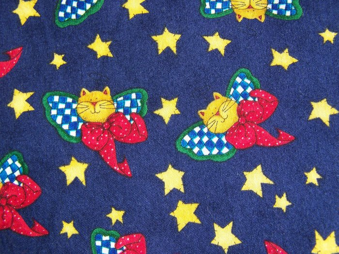 1990's Alma Lynne Cotton Christmas Fabric Cats Angels ANGEL