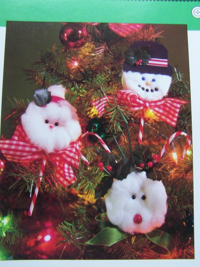 Child's Christmas Ornament Pattern Santa Snowman Rudolph Reindeer No Sewing