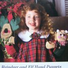 50 cent USA S&H Craft Pattern Christmas Reindeer Elf Hand Puppets Felt Fleece Patterns