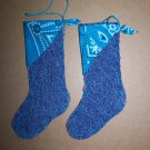 USA 1 Cent S&H 2 Mini Christmas Tree Stockings Ornaments Teal Aqua Bandana Kerchief