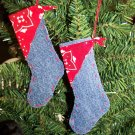 1 Cent USA S&H 2 Country Christmas Western Stocking Ornaments Denim Red Bandana