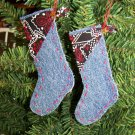 USA 1 Cent S&H Country Western Denim Stocking Ornament Black Bandana Fabric