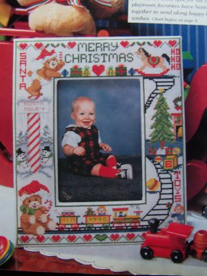 90's Christmas Needlework Patterns Baby Photo Frame 12 Cross Stitch Ornaments Trees