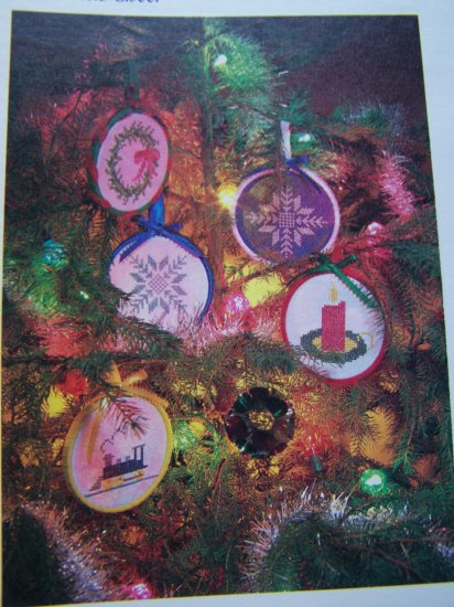 USA 1 Cent S&H  4 Vintage Christmas Tree Ornaments Cross Stitch Craft Patterns