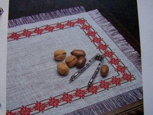 USA 1 Cent S&H Star Studded Christmas Cross Stich Pattern Place Mats Table Napkin