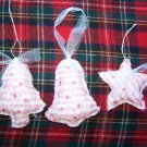 Vintage Pink Rose & Hubble Ticking Fabric Christmas Tree Ornaments Tree Star Bell