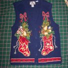 Vintage Ugly Christmas Stocking Sweater Vest Button Up V Neck Beads Metallic