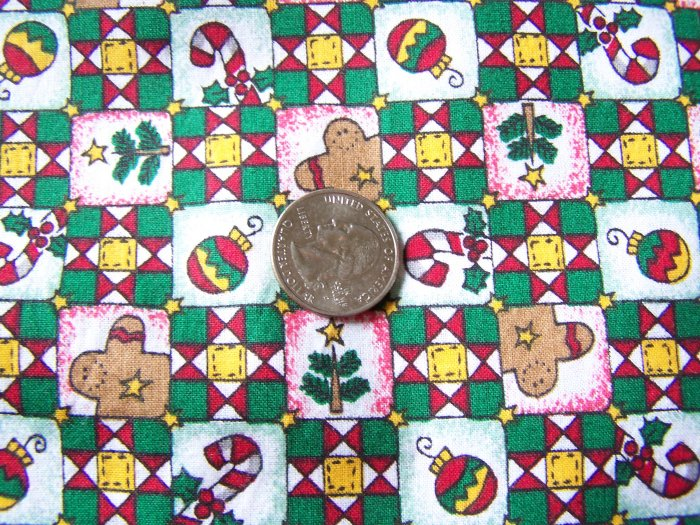 Christmas Fabric Cotton Gingerbread Men Candy Canes Ornaments Trees