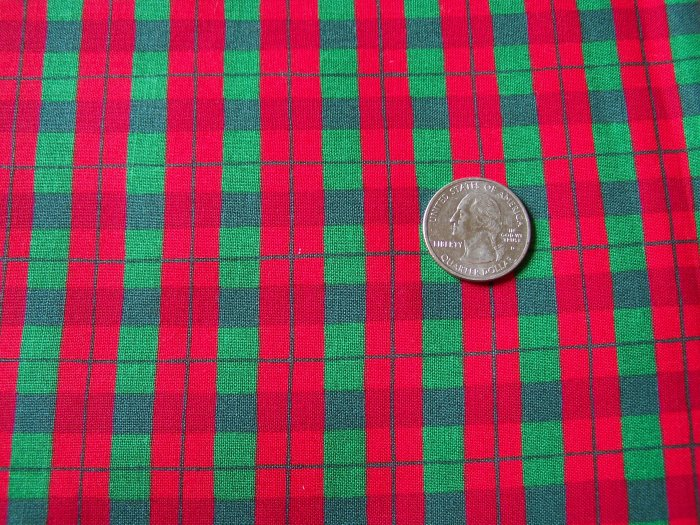 Bright Red & Green Cotton Fabric Christmas Stripe Plaid By the Yard Material