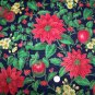 Christmas Cotton Fabric Poinsettias Holly Berry Apples Outline in Gold