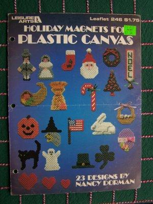 Vintage 80's Leisure Arts Leaflet 246 Plastic Canvas Holiday Magnets
