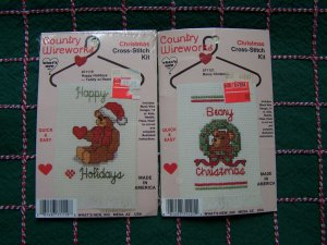 2 Lot Christmas Cross Stitch Kits Country Wireworks Happy holidays & Beary Christmas