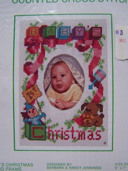 Vintage Baby's First Christmas Photo Frame Cross Stitch Kit Sunset 909