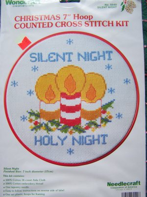 Retro Craft Kit Counted Cross Stitch Christmas Hoop Frame Silent Night Holy Night Candles