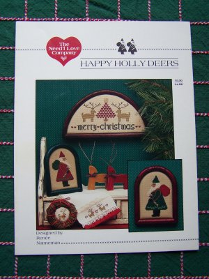 Primitive Cross Stitch Merry Christmas Happy Holly Deer Patterns 1 Cent USA S&H