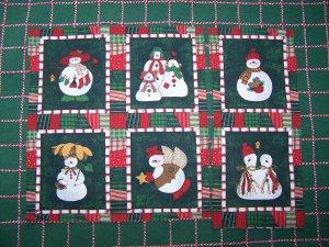 1 Cent S&H USA  6 Snowmen Family Angel Cotton Fabric Christmas Quilt Squares Blocks 77