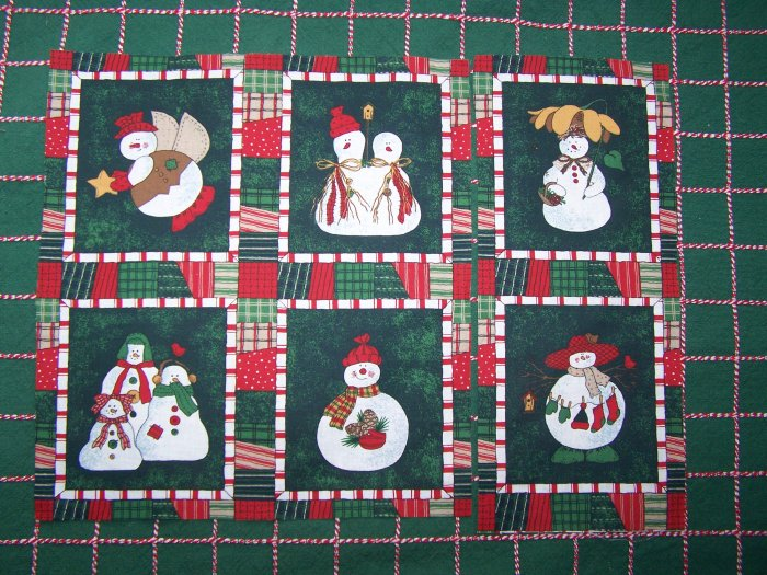 USA 1 Cent S&H  Christmas Cotton Fabric 6 Snowman Family Angels Quilt Blocks 78