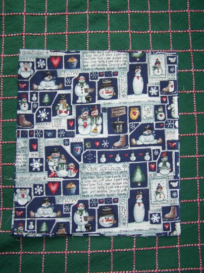 21 Pieces Snowmen Cotton Christmas Fabric Scraps Crafts Quilting Large Squares