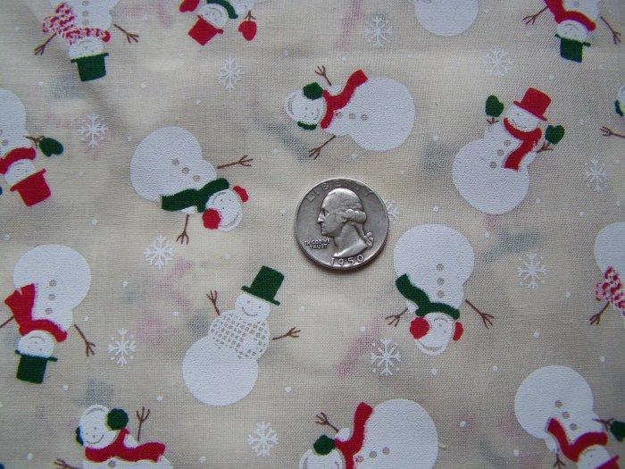 7 Squares 1995 Cotton Christmas Snowman Toss Snowflakes Fabric Lot