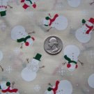 7 Squares 1995 Cotton Christmas Snowman Toss Snowflakes Fabric Lot