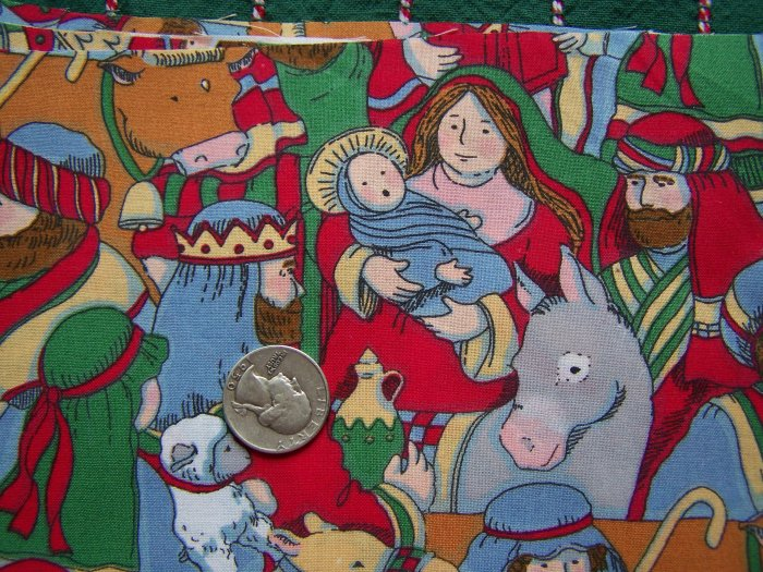 1 Cent S&H US Nativity Scene Print Cotton Christmas Fabric Squares Novelty